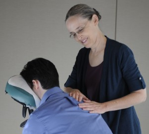Sat Siri Sumler provides free on-site massage to patients, caregivers, and families at MD Anderson. (Photo Courtesy MD Anderson Integrative Medicine.)